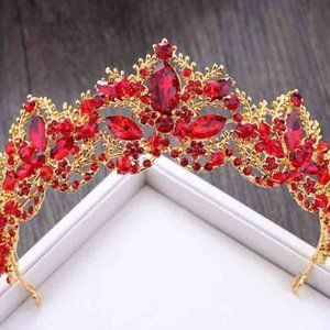 Gold Tone Metal Red Crystal Tiara Crown GT0111